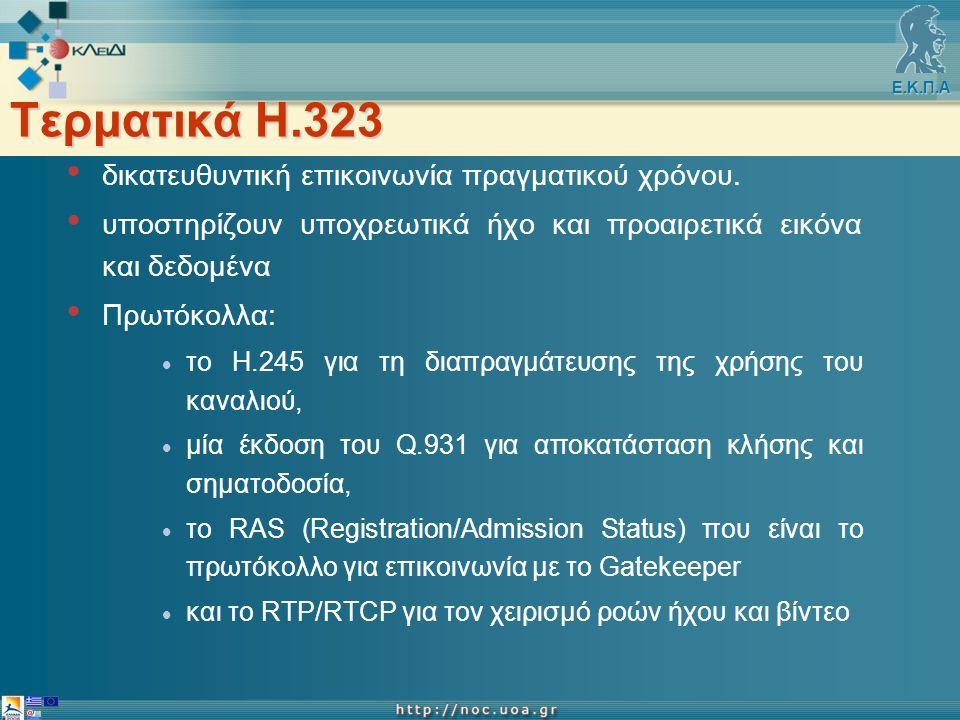 Ε.Κ.Π.Α Τερματικά Η.323 δικατευθυντική επικοινωνία πραγματικού χρόνου.