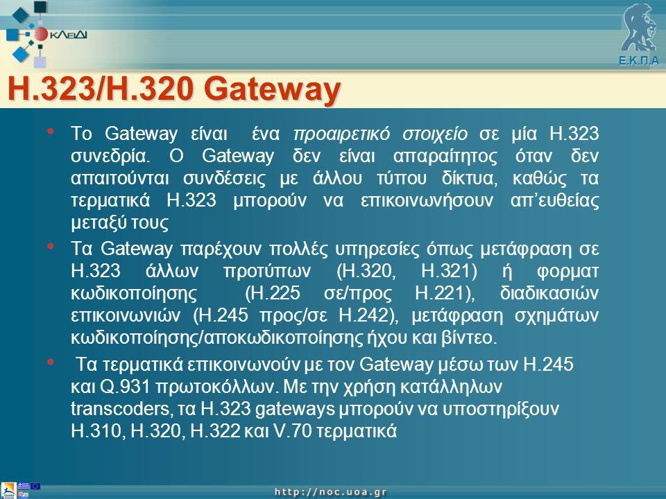 Ε.Κ.Π.Α Η.323/H.320 Gateway Το Gateway είναι ένα προαιρετικό στοιχείο σε μία Η.323 συνεδρία.