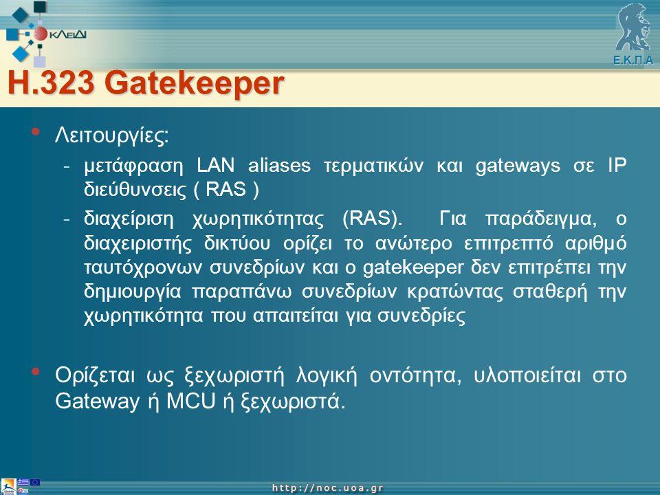 Ε.Κ.Π.Α Η.323 Gatekeeper Λειτουργίες: -μετάφραση LAN aliases τερματικών και gateways σε ΙΡ διεύθυνσεις ( RAS ) -διαχείριση χωρητικότητας (RAS).