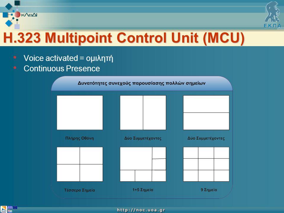 Ε.Κ.Π.Α H.323 Multipoint Control Unit (MCU) Voice activated = ομιλητή Continuous Presence