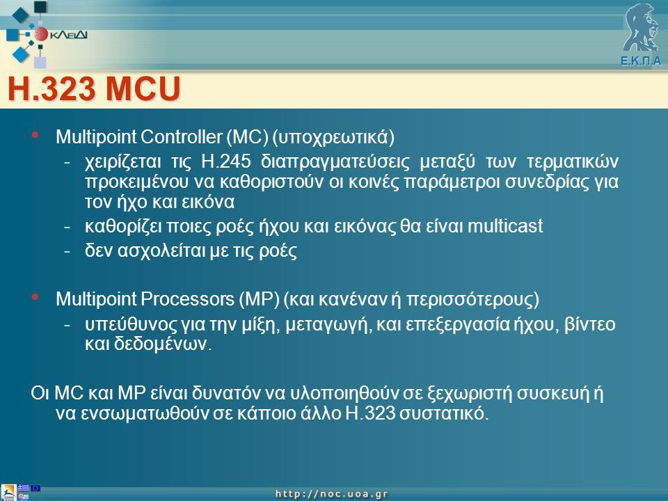 Ε.Κ.Π.Α H.323 MCU Multipoint Controller (MC) (υποχρεωτικά) -χειρίζεται τις Η.245 διαπραγματεύσεις μεταξύ των τερματικών προκειμένου να καθοριστούν οι κοινές παράμετροι συνεδρίας για τον ήχο και εικόνα -καθορίζει ποιες ροές ήχου και εικόνας θα είναι multicast -δεν ασχολείται με τις ροές Multipoint Processors (MP) (και κανέναν ή περισσότερους) -υπεύθυνος για την μίξη, μεταγωγή, και επεξεργασία ήχου, βίντεο και δεδομένων.