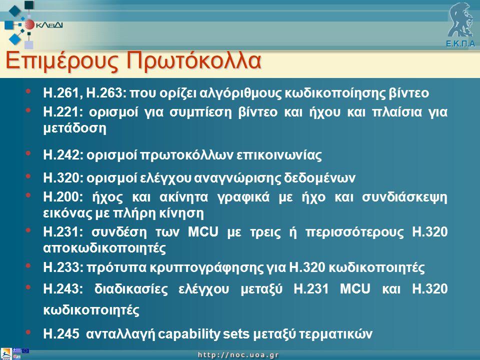 Ε.Κ.Π.Α Επιμέρους Πρωτόκολλα Η.261, Η.263: που ορίζει αλγόριθμους κωδικοποίησης βίντεο Η.221: ορισμοί για συμπίεση βίντεο και ήχου και πλαίσια για μετάδοση Η.242: ορισμοί πρωτοκόλλων επικοινωνίας Η.320: ορισμοί ελέγχου αναγνώρισης δεδομένων Η.200: ήχος και ακίνητα γραφικά με ήχο και συνδιάσκεψη εικόνας με πλήρη κίνηση Η.231: συνδέση των MCU με τρεις ή περισσότερους Η.320 αποκωδικοποιητές Η.233: πρότυπα κρυπτογράφησης για Η.320 κωδικοποιητές Η.243: διαδικασίες ελέγχου μεταξύ Η.231 MCU και Η.320 κωδικοποιητές Η.245 ανταλλαγή capability sets μεταξύ τερματικών