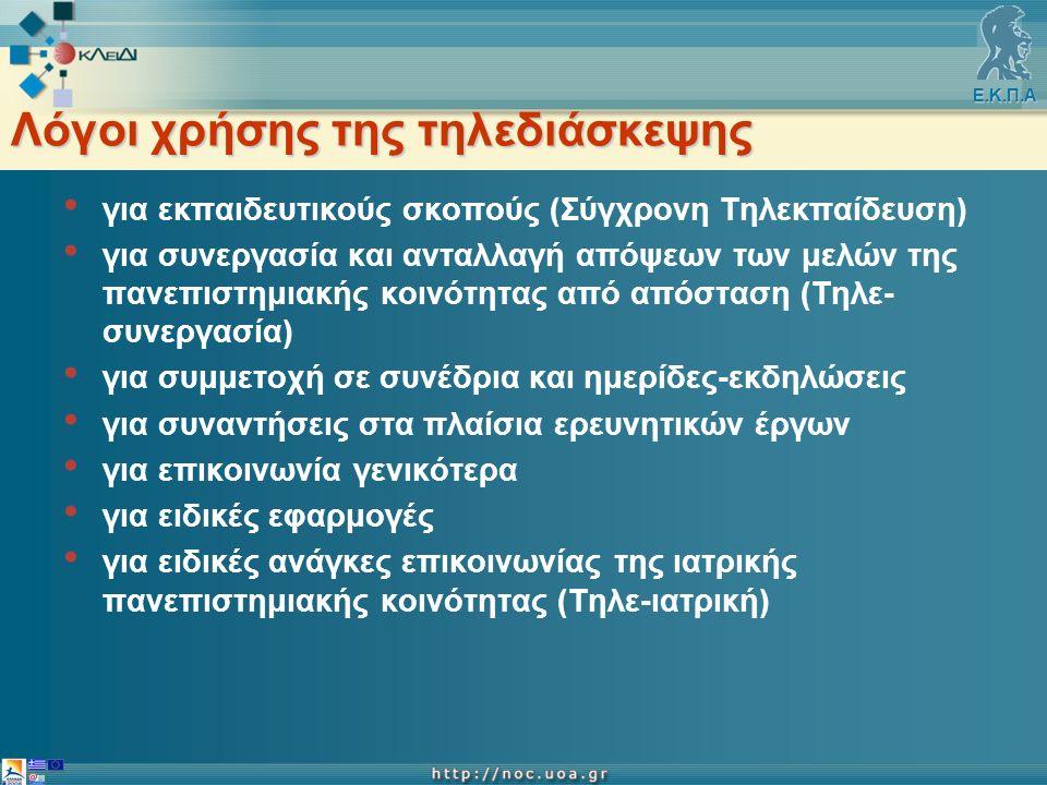 Ε.Κ.Π.Α Λόγοι χρήσης της τηλεδιάσκεψης για εκπαιδευτικούς σκοπούς (Σύγχρονη Τηλεκπαίδευση) για συνεργασία και ανταλλαγή απόψεων των μελών της πανεπιστημιακής κοινότητας από απόσταση (Τηλε- συνεργασία) για συμμετοχή σε συνέδρια και ημερίδες-εκδηλώσεις για συναντήσεις στα πλαίσια ερευνητικών έργων για επικοινωνία γενικότερα για ειδικές εφαρμογές για ειδικές ανάγκες επικοινωνίας της ιατρικής πανεπιστημιακής κοινότητας (Τηλε-ιατρική)