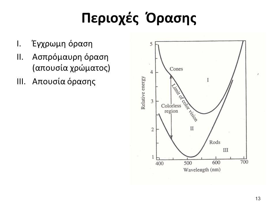 Περιοχές Όρασης I.Έγχρωμη όραση II.Ασπρόμαυρη όραση (απουσία χρώματος) III.Απουσία όρασης 13