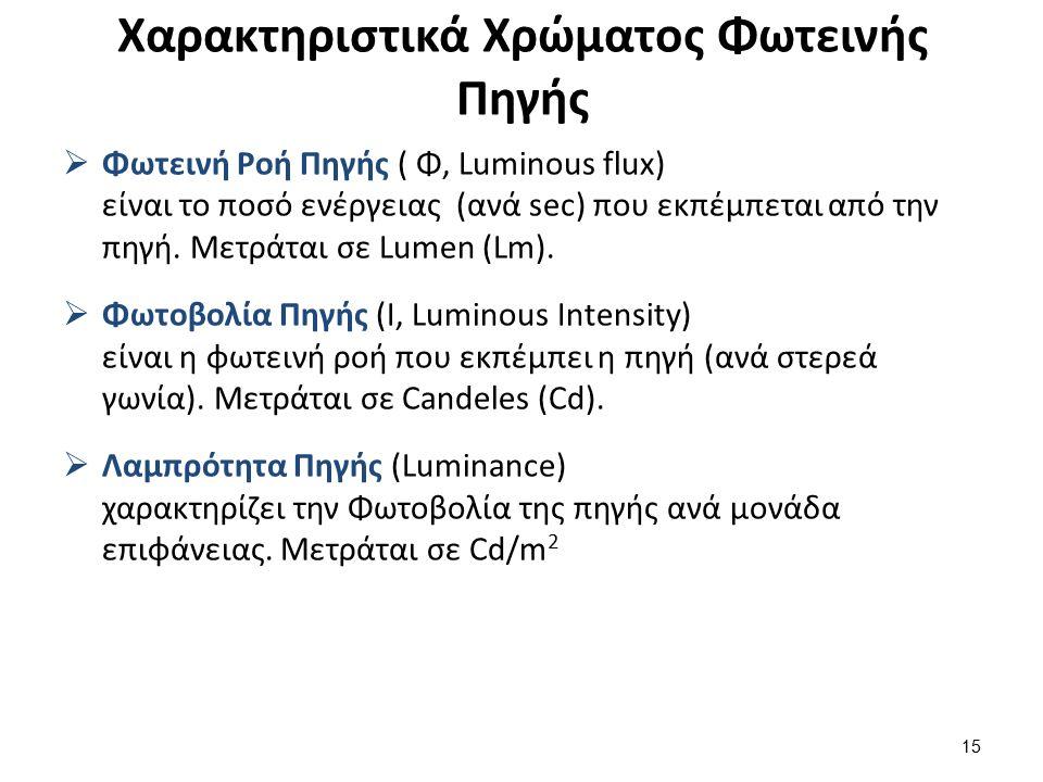 Χαρακτηριστικά Χρώματος Φωτεινής Πηγής  Φωτεινή Ροή Πηγής ( Φ, Luminous flux) είναι το ποσό ενέργειας (ανά sec) που εκπέμπεται από την πηγή.