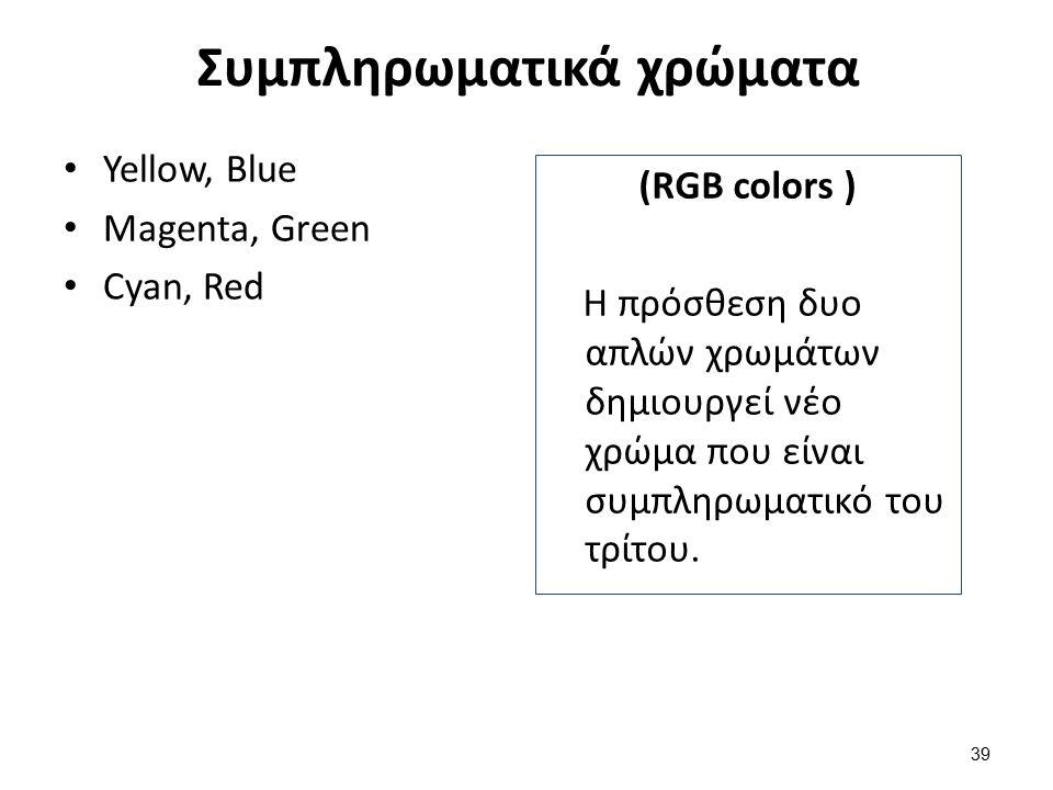 Συμπληρωματικά χρώματα Yellow, Blue Magenta, Green Cyan, Red (RGB colors ) Η πρόσθεση δυο απλών χρωμάτων δημιουργεί νέο χρώμα που είναι συμπληρωματικό του τρίτου.