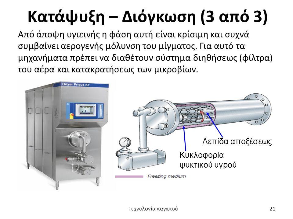 Κατάψυξη – Διόγκωση (3 από 3) Από άποψη υγιεινής η φάση αυτή είναι κρίσιμη και συχνά συμβαίνει αερογενής μόλυνση του μίγματος. Για αυτό τα μηχανήματα
