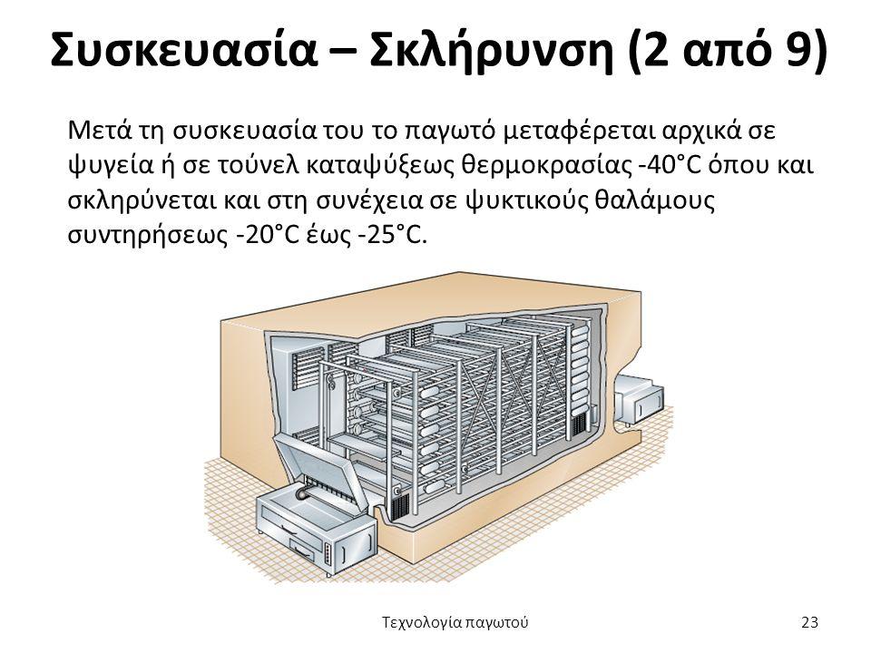 Συσκευασία – Σκλήρυνση (2 από 9) Μετά τη συσκευασία του το παγωτό μεταφέρεται αρχικά σε ψυγεία ή σε τούνελ καταψύξεως θερμοκρασίας -40°C όπου και σκλη