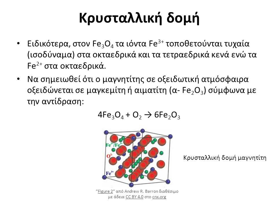Κρυσταλλική δομή Κρυσταλλική δομή μαγνητίτη Ειδικότερα, στον Fe 3 O 4 τα ιόντα Fe 3+ τοποθετούνται τυχαία (ισοδύναμα) στα οκταεδρικά και τα τετραεδρικά κενά ενώ τα Fe 2+ στα οκταεδρικά.