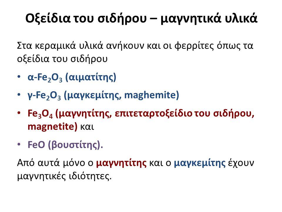 Οξείδια του σιδήρου – μαγνητικά υλικά Στα κεραμικά υλικά ανήκουν και οι φερρίτες όπως τα οξείδια του σιδήρου α-Fe 2 O 3 (αιματίτης) γ-Fe 2 O 3 (μαγκεμίτης, maghemite) Fe 3 O 4 (μαγνητίτης, επιτεταρτοξείδιο του σιδήρου, magnetite) και FeO (βουστίτης).
