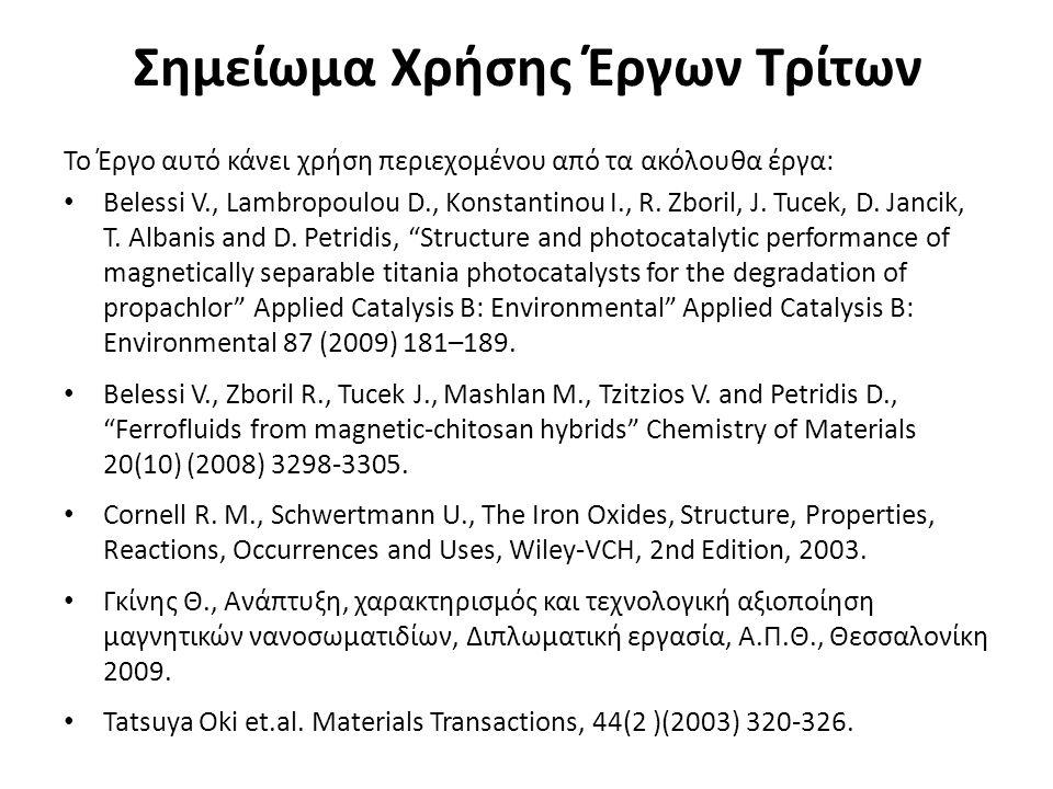 Σημείωμα Χρήσης Έργων Τρίτων Το Έργο αυτό κάνει χρήση περιεχομένου από τα ακόλουθα έργα: Belessi V., Lambropoulou D., Konstantinou I., R. Zboril, J. T