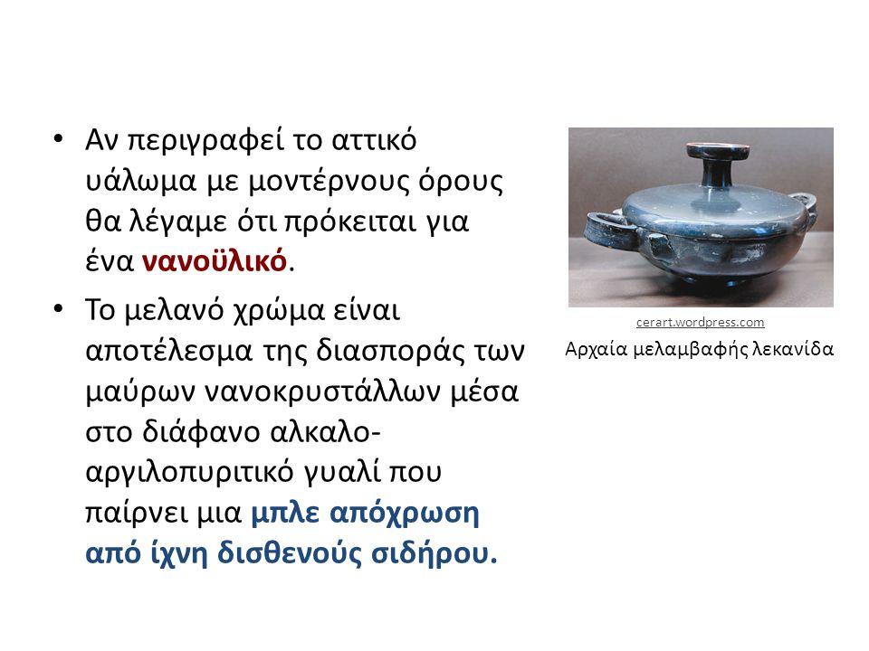 Αρχαία μελαμβαφής λεκανίδα Αν περιγραφεί το αττικό υάλωμα με μοντέρνους όρους θα λέγαμε ότι πρόκειται για ένα νανοϋλικό. Το μελανό χρώμα είναι αποτέλε