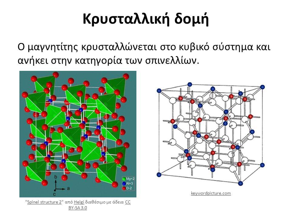 Κρυσταλλική δομή Κρυσταλλική δομή μαγνητίτη, τα λευκά άτομα είναι Ο 2-, τα μπλε και τα κόκκινα είναι (Fe 3+ ) και [Fe 2+ Fe 3+ ], αντίστοιχα.