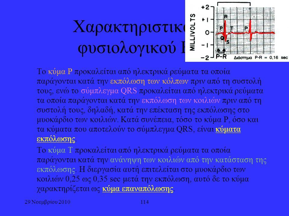29 Νοεμβρίου 2010114 Χαρακτηριστικά του φυσιολογικού ECG Το κύμα Ρ προκαλείται από ηλεκτρικά ρεύματα τα οποία παράγονται κατά την εκπόλωση των κόλπων