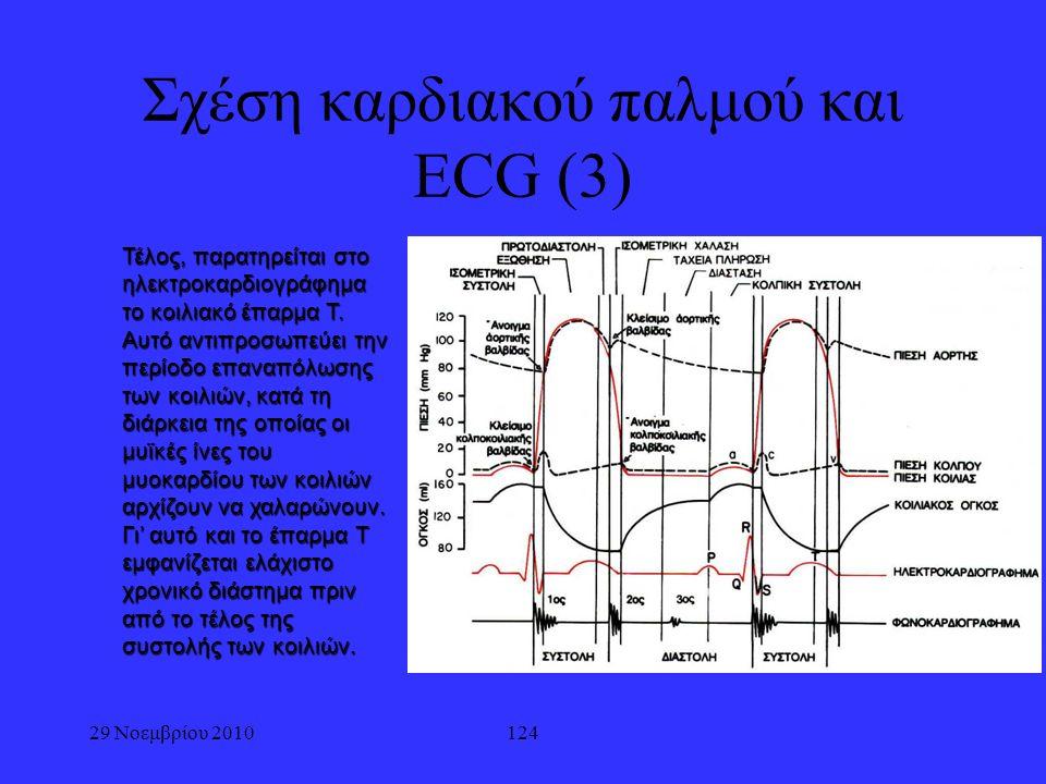 29 Νοεμβρίου 2010124 Σχέση καρδιακού παλμού και ECG (3) Τέλος, παρατηρείται στο ηλεκτροκαρδιογράφημα το κοιλιακό έπαρμα T. Αυτό αντιπροσωπεύει την περ