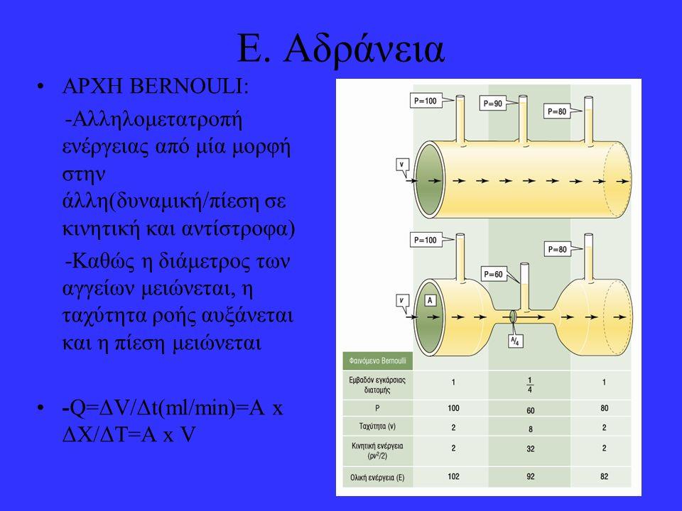 Ε. Αδράνεια ΑΡΧΗ ΒΕRNOULI: -Αλληλομετατροπή ενέργειας από μία μορφή στην άλλη(δυναμική/πίεση σε κινητική και αντίστροφα) -Καθώς η διάμετρος των αγγείω