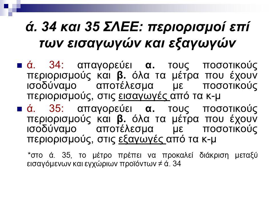 ά. 34 και 35 ΣΛΕΕ: περιορισμοί επί των εισαγωγών και εξαγωγών ά.