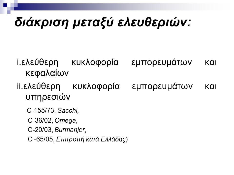 διάκριση μεταξύ ελευθεριών: i.ελεύθερη κυκλοφορία εμπορευμάτων και κεφαλαίων ii.ελεύθερη κυκλοφορία εμπορευμάτων και υπηρεσιών C-155/73, Sacchi, C-36/02, Omega, C-20/03, Burmanjer, C -65/05, Eπιτροπή κατά Ελλάδας)