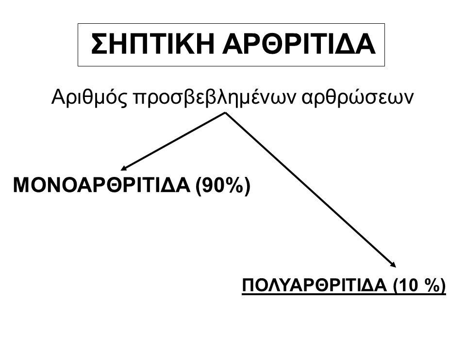 ΣΗΠΤΙΚΗ ΑΡΘΡΙΤΙΔΑ Αριθμός προσβεβλημένων αρθρώσεων ΜΟΝΟΑΡΘΡΙΤΙΔΑ (90%) ΠΟΛΥΑΡΘΡΙΤΙΔΑ (10 %)