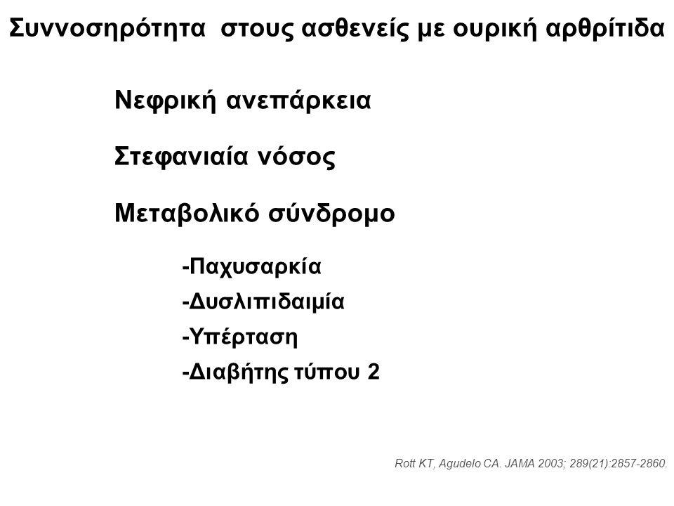 Συννοσηρότητα στους ασθενείς με ουρική αρθρίτιδα Rott KT, Agudelo CA.