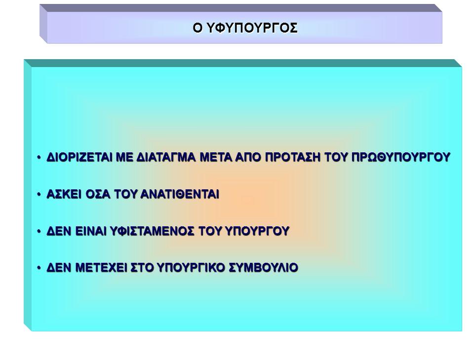 Ο ΥΦΥΠΟΥΡΓΟΣ ΔΙΟΡΙΖΕΤΑΙ ΜΕ ΔΙΑΤΑΓΜΑ ΜΕΤΑ ΑΠΟ ΠΡΟΤΑΣΗ ΤΟΥ ΠΡΩΘΥΠΟΥΡΓΟΥ ΔΙΟΡΙΖΕΤΑΙ ΜΕ ΔΙΑΤΑΓΜΑ ΜΕΤΑ ΑΠΟ ΠΡΟΤΑΣΗ ΤΟΥ ΠΡΩΘΥΠΟΥΡΓΟΥ ΑΣΚΕΙ ΟΣΑ ΤΟΥ ΑΝΑΤΙΘΕΝΤ