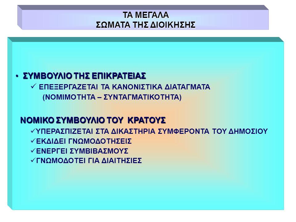 ΤΑ ΜΕΓΑΛΑ ΣΩΜΑΤΑ ΤΗΣ ΔΙΟΙΚΗΣΗΣ ΣΥΜΒΟΥΛΙΟ ΤΗΣ ΕΠΙΚΡΑΤΕΙΑΣ ΣΥΜΒΟΥΛΙΟ ΤΗΣ ΕΠΙΚΡΑΤΕΙΑΣ ΕΠΕΞΕΡΓΑΖΕΤΑΙ ΤΑ ΚΑΝΟΝΙΣΤΙΚΑ ΔΙΑΤΑΓΜΑΤΑ (ΝΟΜΙΜΟΤΗΤΑ – ΣΥΝΤΑΓΜΑΤΙΚΟΤΗΤΑ) ΝΟΜΙΚΟ ΣΥΜΒΟΥΛΙΟ ΤΟΥ ΚΡΑΤΟΥΣ ΝΟΜΙΚΟ ΣΥΜΒΟΥΛΙΟ ΤΟΥ ΚΡΑΤΟΥΣ ΥΠΕΡΑΣΠΙΖΕΤΑΙ ΣΤΑ ΔΙΚΑΣΤΗΡΙΑ ΣΥΜΦΕΡΟΝΤΑ ΤΟΥ ΔΗΜΟΣΙΟΥ ΕΚΔΙΔΕΙ ΓΝΩΜΟΔΟΤΗΣΕΙΣ ΕΝΕΡΓΕΙ ΣΥΜΒΙΒΑΣΜΟΥΣ ΓΝΩΜΟΔΟΤΕΙ ΓΙΑ ΔΙΑΙΤΗΣΙΕΣ