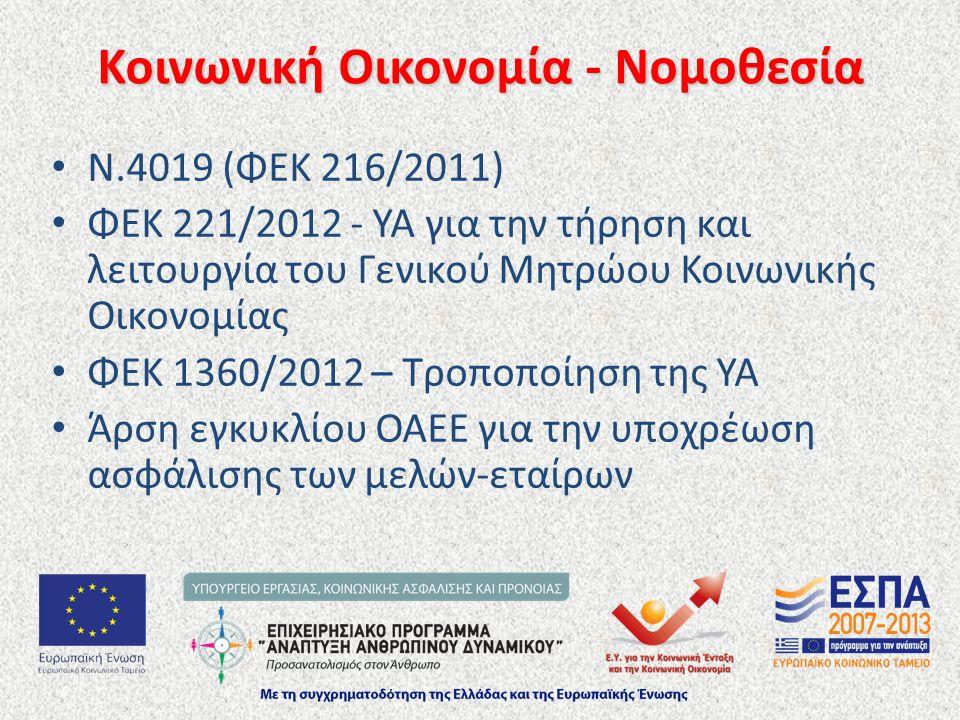 Ν.4019 (ΦΕΚ 216/2011) ΦΕΚ 221/2012 - ΥΑ για την τήρηση και λειτουργία του Γενικού Μητρώου Κοινωνικής Οικονομίας ΦΕΚ 1360/2012 – Τροποποίηση της ΥΑ Άρσ