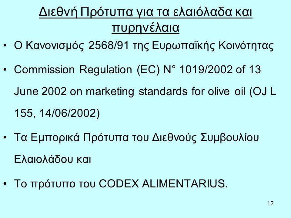 12 Διεθνή Πρότυπα για τα ελαιόλαδα και πυρηνέλαια Ο Κανονισμός 2568/91 της Ευρωπαϊκής Κοινότητας Commission Regulation (EC) N° 1019/2002 of 13 June 20