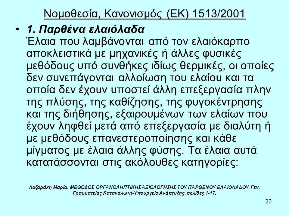 23 Νομοθεσία, Κανονισμός (ΕΚ) 1513/2001 1. Παρθένα ελαιόλαδα Έλαια που λαμβάνονται από τον ελαιόκαρπο αποκλειστικά με μηχανικές ή άλλες φυσικές μεθόδο