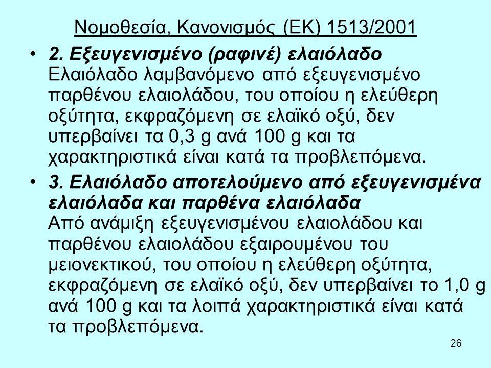 26 Νομοθεσία, Κανονισμός (ΕΚ) 1513/2001 2. Εξευγενισμένο (ραφινέ) ελαιόλαδο Ελαιόλαδο λαμβανόμενο από εξευγενισμένο παρθένου ελαιολάδου, του οποίου η