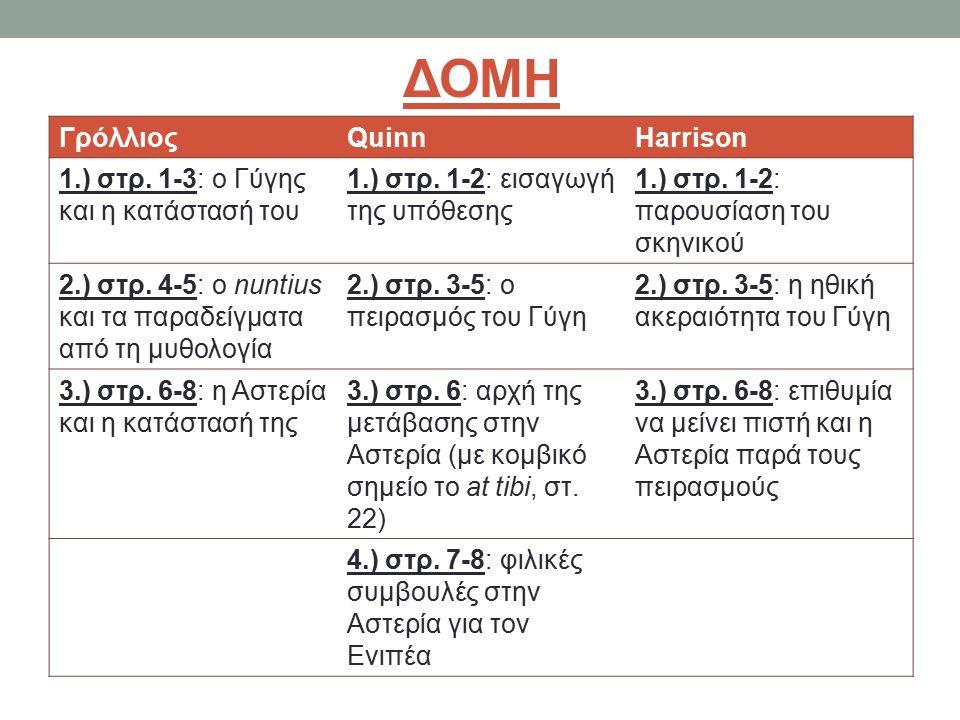 ΔΟΜΗ ΓρόλλιοςQuinnHarrison 1.) στρ. 1-3: ο Γύγης και η κατάστασή του 1.) στρ.