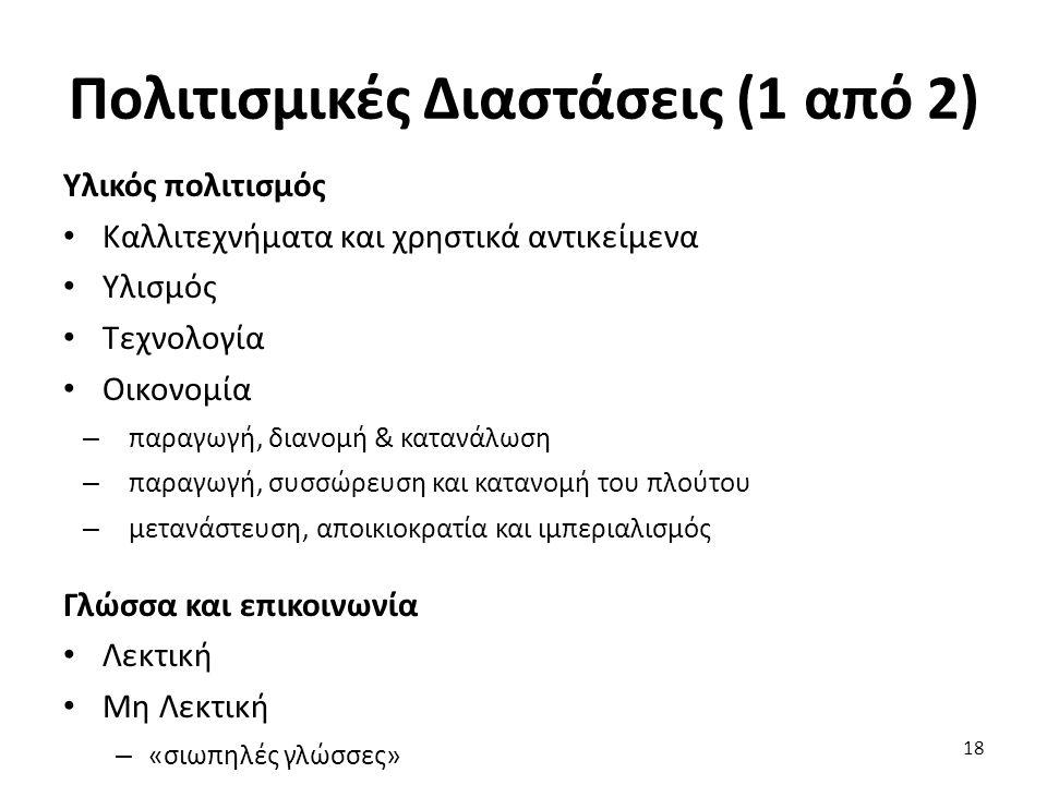 18 Υλικός πολιτισμός Καλλιτεχνήματα και χρηστικά αντικείμενα Υλισμός Τεχνολογία Οικονομία – παραγωγή, διανομή & κατανάλωση – παραγωγή, συσσώρευση και κατανομή του πλούτου – μετανάστευση, αποικιοκρατία και ιμπεριαλισμός Γλώσσα και επικοινωνία Λεκτική Μη Λεκτική – «σιωπηλές γλώσσες» Πολιτισμικές Διαστάσεις (1 από 2)