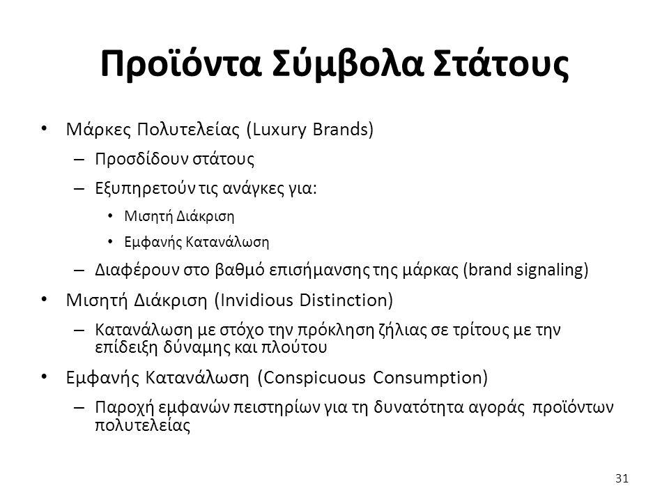 31 Μάρκες Πολυτελείας (Luxury Brands) – Προσδίδουν στάτους – Εξυπηρετούν τις ανάγκες για: Μισητή Διάκριση Εμφανής Κατανάλωση – Διαφέρουν στο βαθμό επισήμανσης της μάρκας (brand signaling) Μισητή Διάκριση (Invidious Distinction) – Κατανάλωση με στόχο την πρόκληση ζήλιας σε τρίτους με την επίδειξη δύναμης και πλούτου Εμφανής Κατανάλωση (Conspicuous Consumption) – Παροχή εμφανών πειστηρίων για τη δυνατότητα αγοράς προϊόντων πολυτελείας Προϊόντα Σύμβολα Στάτους