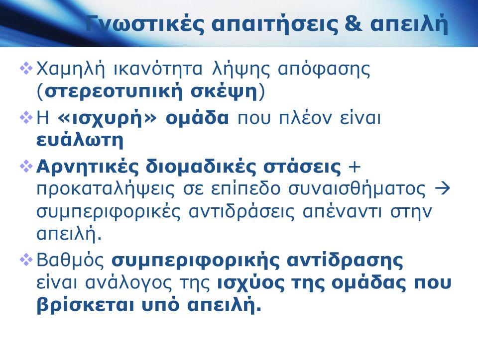 Γνωστικές απαιτήσεις & απειλή  Χαμηλή ικανότητα λήψης απόφασης (στερεοτυπική σκέψη)  Η «ισχυρή» ομάδα που πλέον είναι ευάλωτη  Αρνητικές διομαδικές