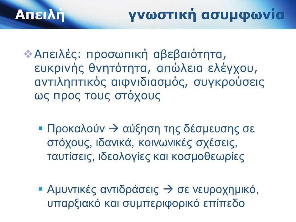 Συνθήκες έλλειψης απειλής  Χωρίς απειλή τα άτομα δεν κινητοποιούνται να προστατέψουν τα αγαθά (Redmond, 2012)  Κινητοποιούνται για εμπλοκή σε συνεργατικές συμπεριφορές – συμβάλουν ουσιαστικά σε αποτελεσματικές διαδικασίες λήψης αποφάσεων (Redmond, 2012)  Άτομα σκέφτονται και δρουν λιγότερο στερεοτυπικά (Ellemers et al., 2002)