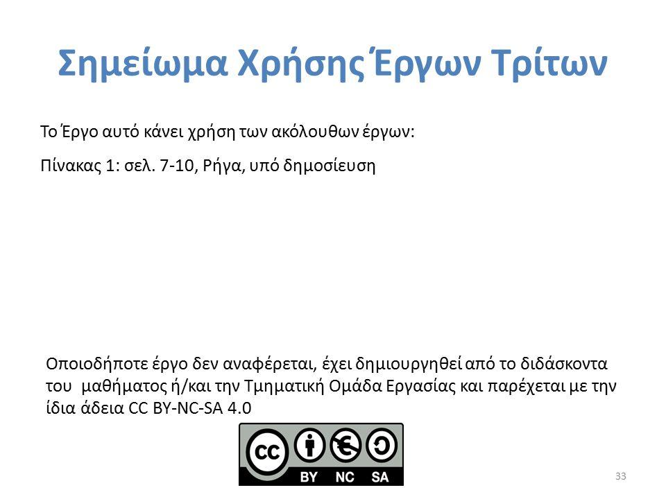 Σημείωμα Χρήσης Έργων Τρίτων Το Έργο αυτό κάνει χρήση των ακόλουθων έργων: Πίνακας 1: σελ. 7-10, Ρήγα, υπό δημοσίευση 33 Οποιοδήποτε έργο δεν αναφέρετ