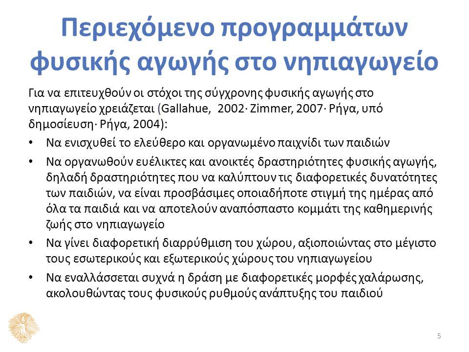 Περιεχόμενο προγραμμάτων φυσικής αγωγής στο νηπιαγωγείο Για να επιτευχθούν οι στόχοι της σύγχρονης φυσικής αγωγής στο νηπιαγωγείο χρειάζεται (Gallahue