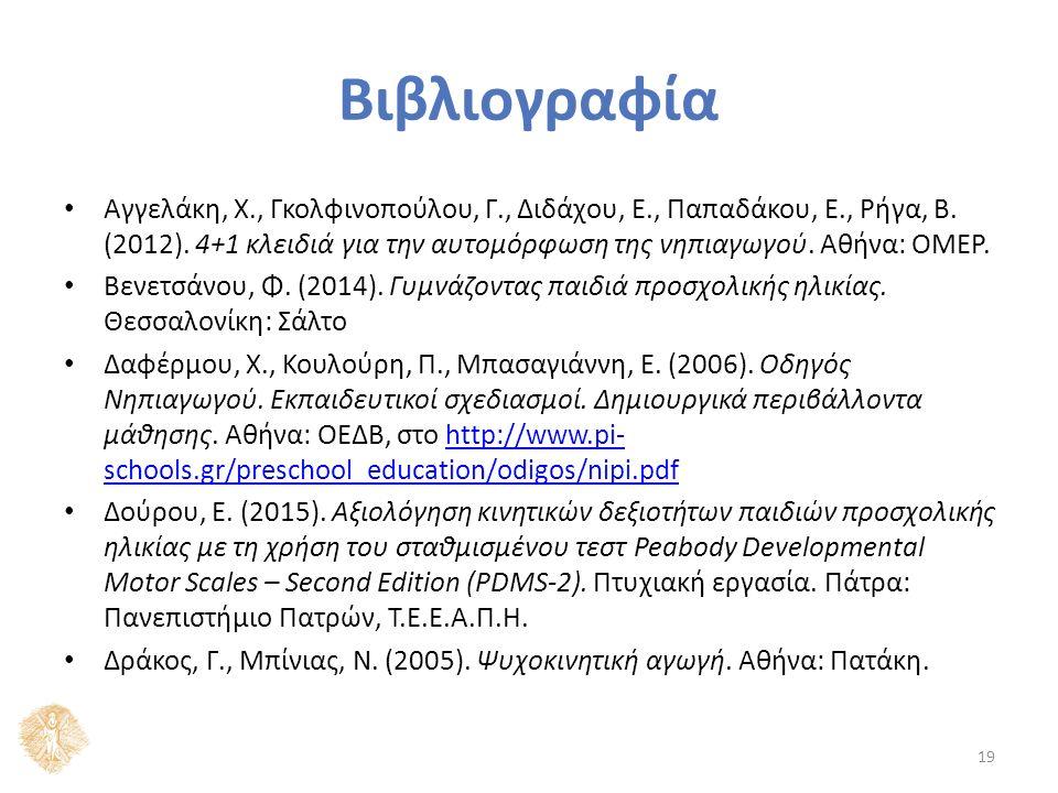Βιβλιογραφία Αγγελάκη, Χ., Γκολφινοπούλου, Γ., Διδάχου, Ε., Παπαδάκου, Ε., Ρήγα, Β. (2012). 4+1 κλειδιά για την αυτομόρφωση της νηπιαγωγού. Αθήνα: ΟΜΕ