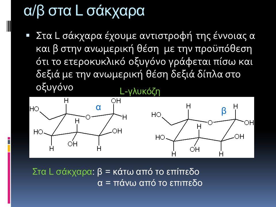 α/β στα L σάκχαρα  Στα L σάκχαρα έχουμε αντιστροφή της έννοιας α και β στην ανωμερική θέση με την προϋπόθεση ότι το ετεροκυκλικό οξυγόνο γράφεται πίσ