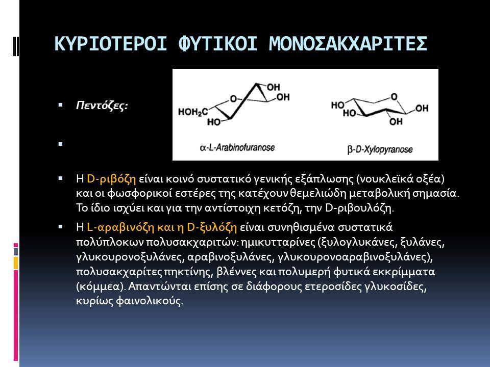 ΚΥΡΙΟΤΕΡΟΙ ΦΥΤΙΚΟΙ ΜΟΝΟΣΑΚΧΑΡΙΤΕΣ  Πεντόζες:  Η D-ριβόζη είναι κοινό συστατικό γενικής εξάπλωσης (νουκλεϊκά οξέα) και οι φωσφορικοί εστέρες της κατέ
