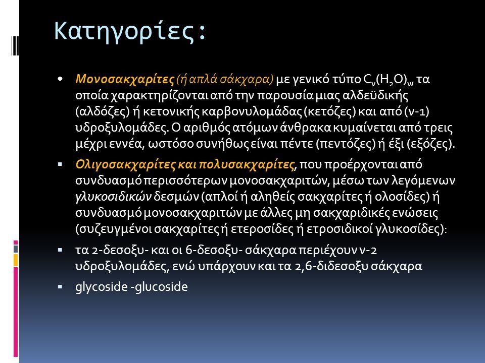 Κατηγορίες: Μονοσακχαρίτες (ή απλά σάκχαρα) με γενικό τύπο C ν (H 2 O) ν, τα οποία χαρακτηρίζονται από την παρουσία μιας αλδεϋδικής (αλδόζες) ή κετονι