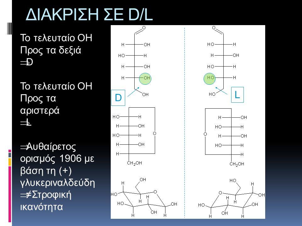 Διάκριση σε α/β ανωμερή β α Ισχύει για τα D-σάκχαρα β = Πάνω από το επίπεδο α = κάτω από το επίπεδο