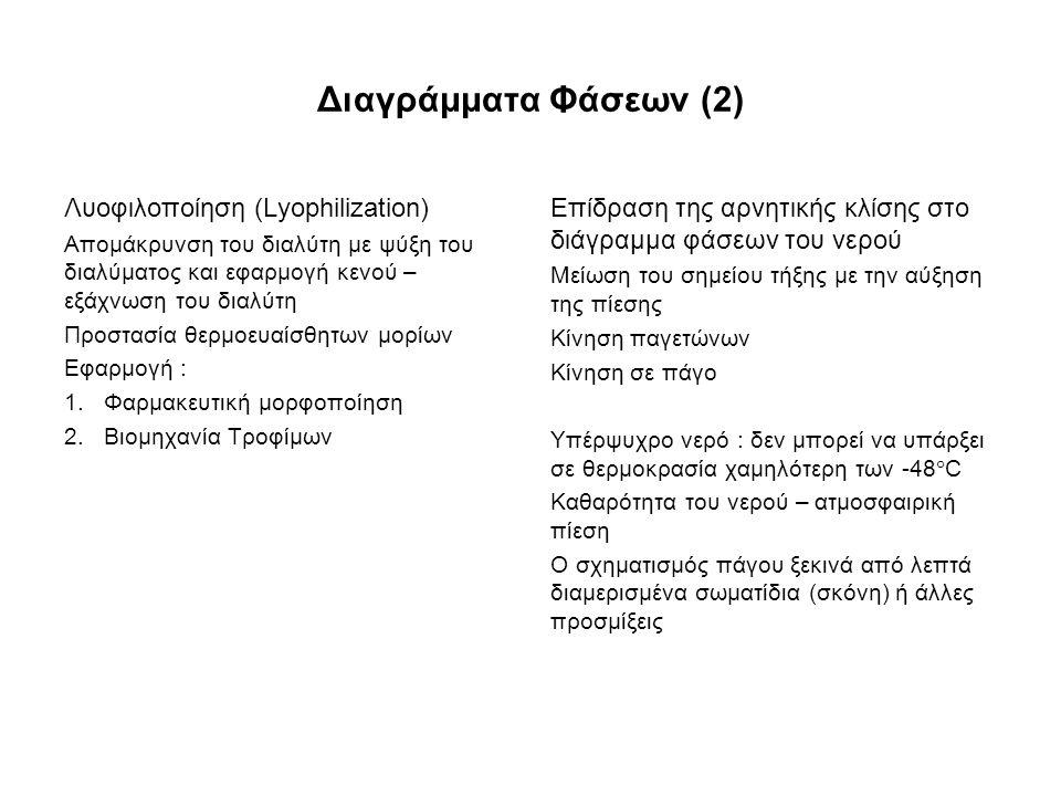 Διαγράμματα Φάσεων (2) Λυοφιλοποίηση (Lyophilization) Απομάκρυνση του διαλύτη με ψύξη του διαλύματος και εφαρμογή κενού – εξάχνωση του διαλύτη Προστασία θερμοευαίσθητων μορίων Εφαρμογή : 1.Φαρμακευτική μορφοποίηση 2.Βιομηχανία Τροφίμων Επίδραση της αρνητικής κλίσης στο διάγραμμα φάσεων του νερού Μείωση του σημείου τήξης με την αύξηση της πίεσης Κίνηση παγετώνων Κίνηση σε πάγο Υπέρψυχρο νερό : δεν μπορεί να υπάρξει σε θερμοκρασία χαμηλότερη των -48  C Καθαρότητα του νερού – ατμοσφαιρική πίεση Ο σχηματισμός πάγου ξεκινά από λεπτά διαμερισμένα σωματίδια (σκόνη) ή άλλες προσμίξεις