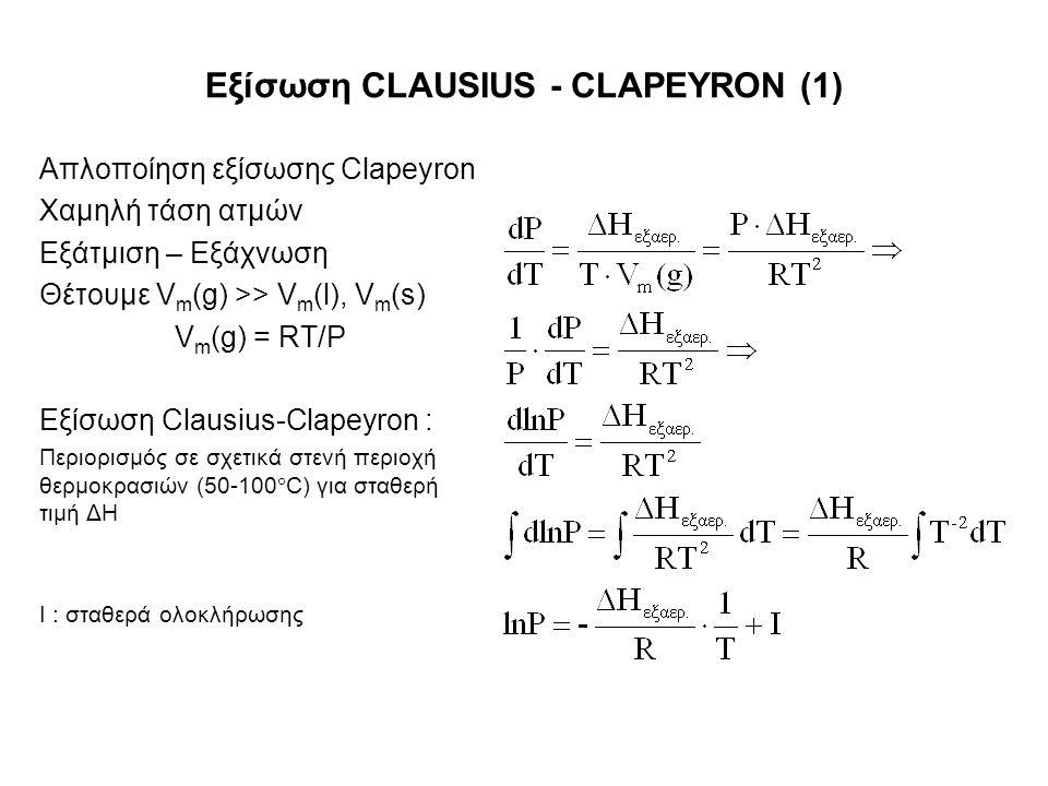 Εξίσωση CLAUSIUS - CLAPEYRON (1) Απλοποίηση εξίσωσης Clapeyron Χαμηλή τάση ατμών Εξάτμιση – Εξάχνωση Θέτουμε V m (g) >> V m (l), V m (s) V m (g) = RT/P Εξίσωση Clausius-Clapeyron : Περιορισμός σε σχετικά στενή περιοχή θερμοκρασιών (50-100  C) για σταθερή τιμή ΔΗ I : σταθερά ολοκλήρωσης