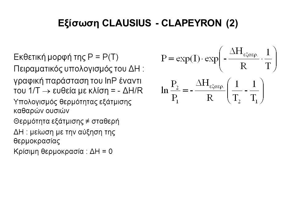 Εξίσωση CLAUSIUS - CLAPEYRON (2) Εκθετική μορφή της P = P(T) Πειραματικός υπολογισμός του ΔH : γραφική παράσταση του lnP έναντι του 1/T  ευθεία με κλίση = - ΔH/R Υπολογισμός θερμότητας εξάτμισης καθαρών ουσιών Θερμότητα εξάτμισης ≠ σταθερή ΔΗ : μείωση με την αύξηση της θερμοκρασίας Κρίσιμη θερμοκρασία : ΔΗ = 0