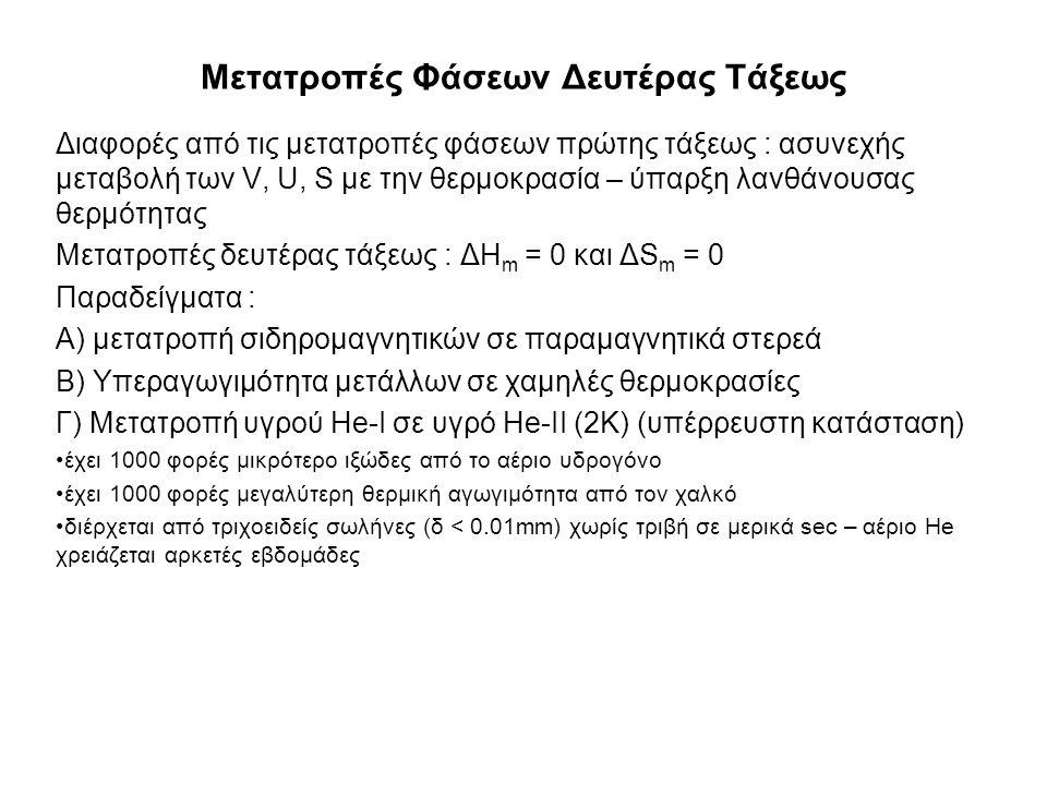 Μετατροπές Φάσεων Δευτέρας Τάξεως Διαφορές από τις μετατροπές φάσεων πρώτης τάξεως : ασυνεχής μεταβολή των V, U, S με την θερμοκρασία – ύπαρξη λανθάνουσας θερμότητας Μετατροπές δευτέρας τάξεως : ΔΗ m = 0 και ΔS m = 0 Παραδείγματα : Α) μετατροπή σιδηρομαγνητικών σε παραμαγνητικά στερεά Β) Υπεραγωγιμότητα μετάλλων σε χαμηλές θερμοκρασίες Γ) Μετατροπή υγρού He-I σε υγρό He-II (2K) (υπέρρευστη κατάσταση) έχει 1000 φορές μικρότερο ιξώδες από το αέριο υδρογόνο έχει 1000 φορές μεγαλύτερη θερμική αγωγιμότητα από τον χαλκό διέρχεται από τριχοειδείς σωλήνες (δ < 0.01mm) χωρίς τριβή σε μερικά sec – αέριο He χρειάζεται αρκετές εβδομάδες