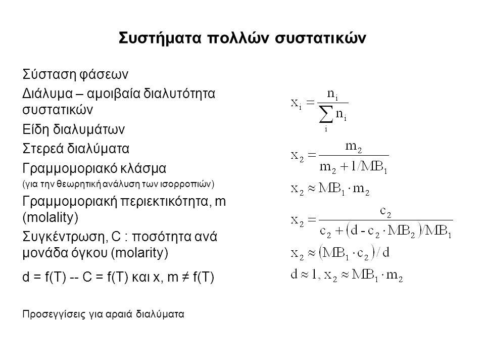 Συστήματα πολλών συστατικών Σύσταση φάσεων Διάλυμα – αμοιβαία διαλυτότητα συστατικών Είδη διαλυμάτων Στερεά διαλύματα Γραμμομοριακό κλάσμα (για την θεωρητική ανάλυση των ισορροπιών) Γραμμομοριακή περιεκτικότητα, m (molality) Συγκέντρωση, C : ποσότητα ανά μονάδα όγκου (molarity) d = f(T) -- C = f(T) και x, m ≠ f(T) Προσεγγίσεις για αραιά διαλύματα