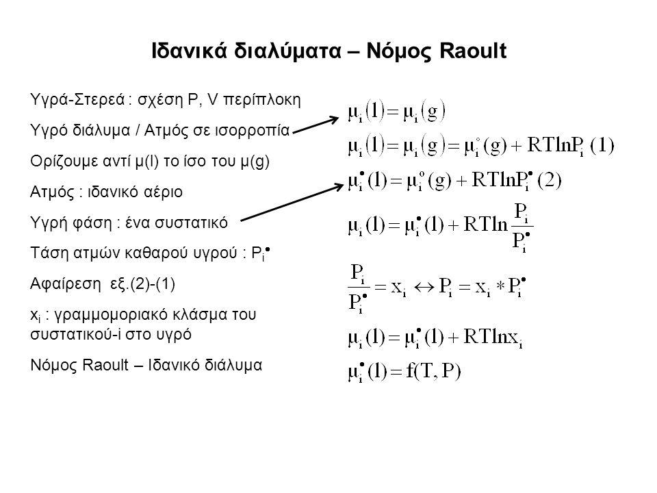 Ιδανικά διαλύματα – Νόμος Raoult Υγρά-Στερεά : σχέση P, V περίπλοκη Υγρό διάλυμα / Ατμός σε ισορροπία Ορίζουμε αντί μ(l) το ίσο του μ(g) Ατμός : ιδανικό αέριο Υγρή φάση : ένα συστατικό Τάση ατμών καθαρού υγρού : P i  Αφαίρεση εξ.(2)-(1) x i : γραμμομοριακό κλάσμα του συστατικού-i στο υγρό Νόμος Raoult – Ιδανικό διάλυμα