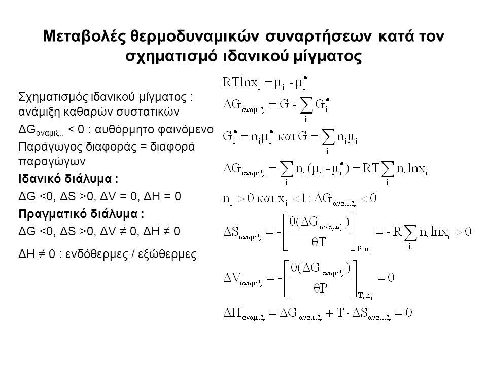 Μεταβολές θερμοδυναμικών συναρτήσεων κατά τον σχηματισμό ιδανικού μίγματος Σχηματισμός ιδανικού μίγματος : ανάμιξη καθαρών συστατικών ΔG αναμιξ..