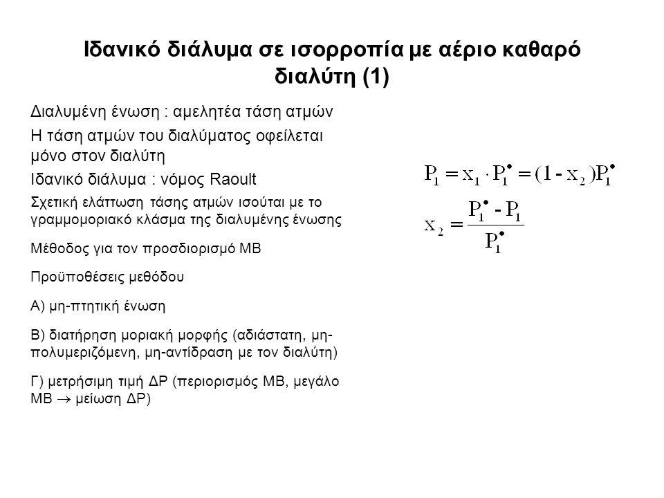 Ιδανικό διάλυμα σε ισορροπία με αέριο καθαρό διαλύτη (1) Διαλυμένη ένωση : αμελητέα τάση ατμών Η τάση ατμών του διαλύματος οφείλεται μόνο στον διαλύτη Ιδανικό διάλυμα : νόμος Raoult Σχετική ελάττωση τάσης ατμών ισούται με το γραμμομοριακό κλάσμα της διαλυμένης ένωσης Μέθοδος για τον προσδιορισμό ΜΒ Προϋποθέσεις μεθόδου Α) μη-πτητική ένωση Β) διατήρηση μοριακή μορφής (αδιάστατη, μη- πολυμεριζόμενη, μη-αντίδραση με τον διαλύτη) Γ) μετρήσιμη τιμή ΔP (περιορισμός ΜΒ, μεγάλο ΜΒ  μείωση ΔP)